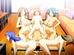 Busty lesbians in hentai orgy video