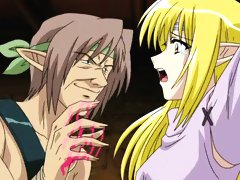 Pretty hentai elf blonde toyed and double penetrated
