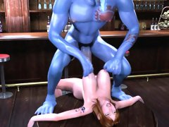 Sexy 3D cartoon redhead babe getting laid by alien